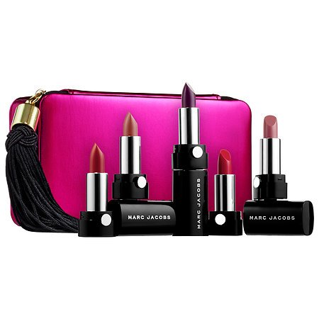 Marc Jacobs Up All Night 6 Piece Lipstick Lip Creme Collection plus Pink Clutch Purse