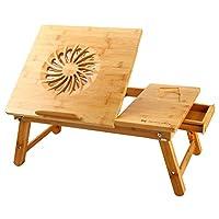 Laptop Desk Nnewvante Adjustable Laptop Desk Table 100% Bamboo with USB Fan Foldable Breakfast Serving Bed Tray w