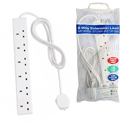 fun-daisy-6-way-extension-lead-2-metre-gang-cable-13a-amp-electrical-mains-adapter
