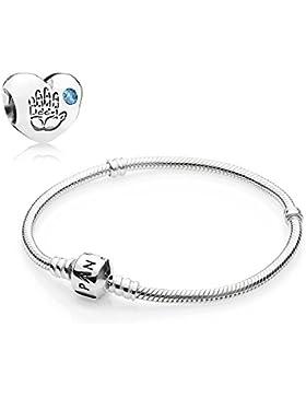 Pandora Geschenkset Starterset 791281CZB (Baby Junge Charm) + 590702HV-18 18cm (Armband)