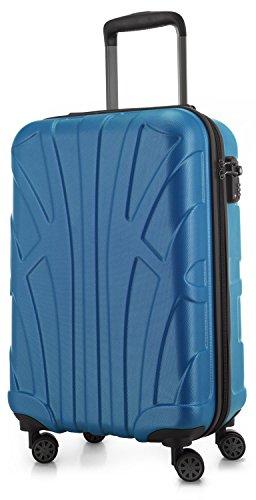 Suitline Handgepäck Hartschalen-Koffer Koffer Trolley Rollkoffer Reisekoffer, TSA, 55 cm, ca. 33 Liter, 100% ABS Matt, Cyanblau