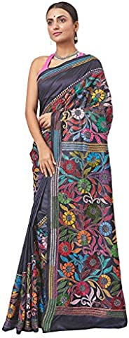 Biswa Bangla Women's Plain Weave Silk Saree With Blouse Piece (BBHS-1033_Multicolo
