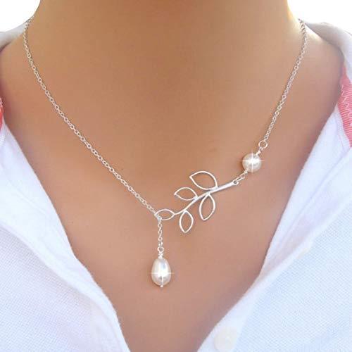 Binmer (tm) collana con ciondolo da donna e ragazza, motivo con perla e foglie