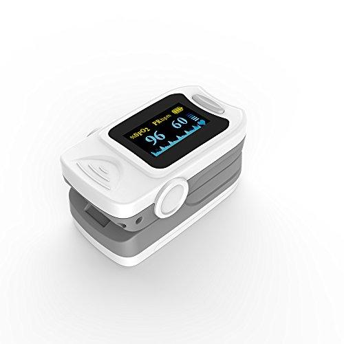 KKmoon OLED Fingerspitze Pulsoximeter Blut Sauerstoff Sättigungsmonitor SPO2 / PR / Pulsstärke / Pulswelle / Alarmfunktion mit Lanyard FDA / CE / ROHS Approved