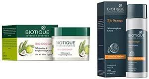 Biotique Bio Coconut Whitening And Brightening Cream, 50g And Biotique Bitter Orange Bio Orange Whitening Face Loton For Men, 120ml
