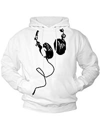 Electro Beats Kapuzenpulli mit Kopfhörer weiß / schwarz Größe M-XXL