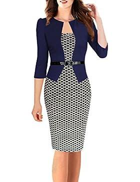Minetom Donne Vintage A-Line Vestito Elegante Ginocchio Lunghezza Vestito Ol Attività Commerciale Vestito Partito...