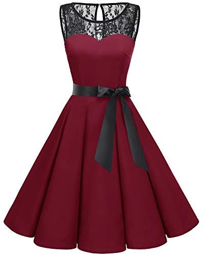 bbonlinedress 1950er Ärmellos Vintage Retro Spitzenkleid Rundhals Abendkleid Dark Red 3XL