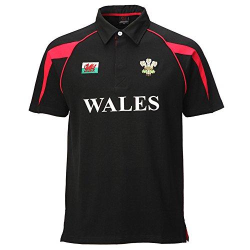 Poly Stil Baumwolle Rugby Shirt Gr. XXXL, schwarz -