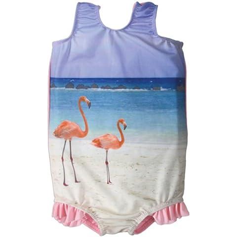 Splash About, Costume da bagno con balze Bambina, Multicolore (Rose - Funky Flamingo), 4-6 anni