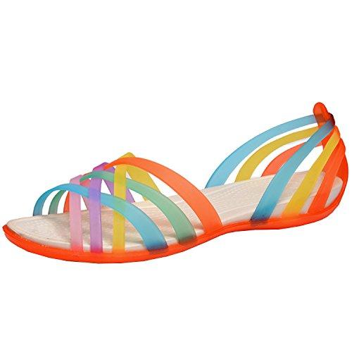 Oasap Women's Multicolor Strappy Slip-on Flat Jelly Sandals Orange