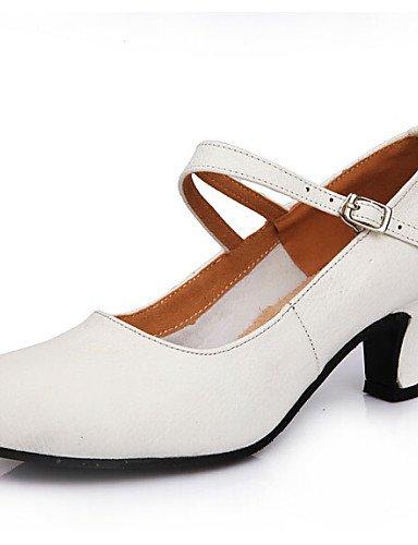 La mode moderne femmes Sandales Chaussures de danse talons première couche cuir talon Cubain Noir/Rouge/Blanc White