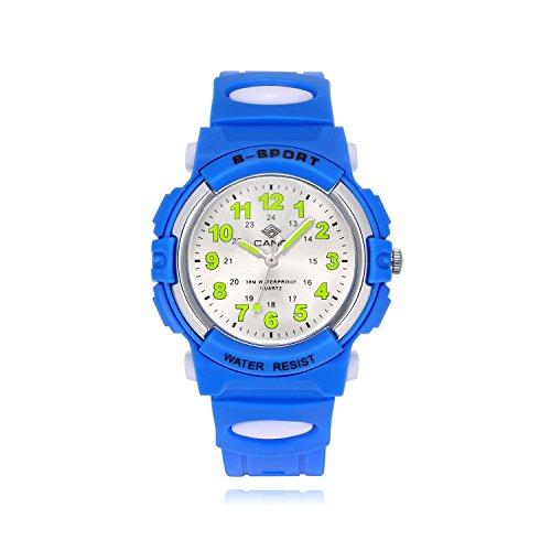 Kinderuhr Junge, Kinderuhr Armbanduhr Analog Wasserdicht Sports Uhren für Jungen und Mädchen Uhr Sports Uhren-Blau