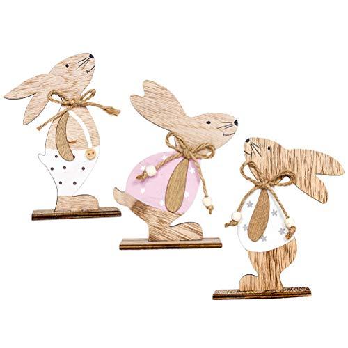 Nuobesty decorazioni pasqua coniglio in legno fette di legno regali di pasqua 3 pezzi