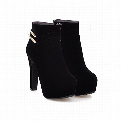 Misssasa Femme Chaussures À Talon Haut Elegnate Et Belles Bottes Courtes Noires