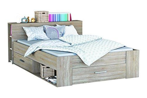 Funktionsbett 160*200 cm grau sonoma eiche inkl 3 Roll-Bettkästen Kinderbett Jugendbett Jugendliege Bettliege Bett Jugendzimmer Kinderzimmer