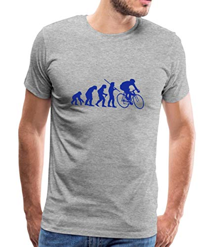 Spreadshirt Evolution Rennrad Männer Premium T-Shirt, S, Grau meliert -