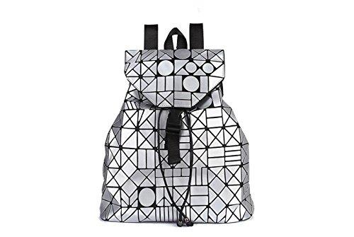Luminous Lattice Frauen Rucksack Berühmte Designer Geometrische Laser Tasche Teenager Mädchen Schule Mochila T021 Geometrische große silber