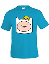 Camiseta Hora de Aventuras Finn y Jake azul turquesa (Talla: TALLA-XXL)