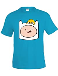 Camiseta Hora de Aventuras Finn y Jake azul turquesa (Talla: TALLA-S)