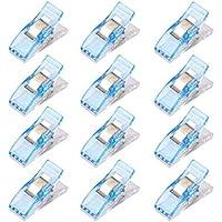 Aofocy Clips de Costura, Clips de plástico multifunción de Colores Surtidos para el Aprendizaje de encuadernación de retazo Posicionamiento del Borde de Costura Clip de 50 Piezas (Azul)
