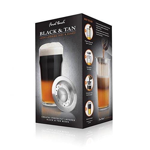 Final Touch Black & Tan GLASS & Beer LAYERING Tool Bier-Glas und Werkzeug-Set