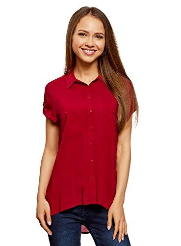 oodji Ultra Mujer Blusa de Viscosa con Bolsillos en el Pecho, Rojo, ES 44/XL