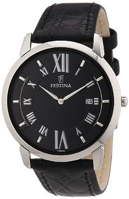 Festina F6813/2 - Reloj analógico de cuarzo para hombre con correa de piel, color negro de Festina
