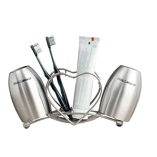 YZH Edelstahl Zahnbürstenhalter, mit einem Cup of Heart Design, robust und langlebig Badezimmer Bad/Schlafsaal Paar Zahnbürste Lagerregal (Silber)