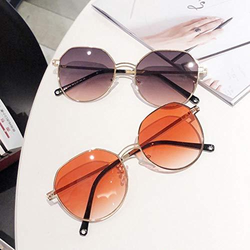 BHLTG Sonnenbrille für Männer und Frauen Metall runden Rahmen Sonnenbrille Retro Persönlichkeit Marine Film Trend Sonnenbrille im Freien UV Brille-4