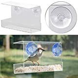 Royal Gardineer Vogel Winterfutterhaus: Vogel-Futterhaus aus Acryl mit Saugnapf-Befestigung fürs Fenster (Transparentes Vogel-Futterhaus)