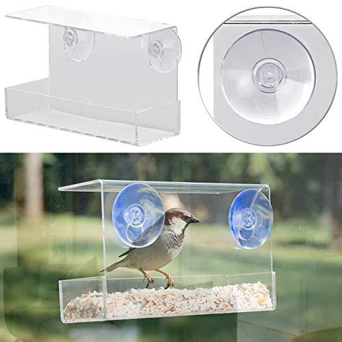Royal Gardineer Fenster-Vogelfutterhaus: Vogel-Futterhaus aus Acryl mit Saugnapf-Befestigung fürs Fenster (Vogel Winterfutterhaus)