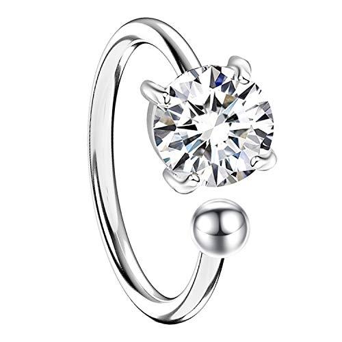 MYA art Damen Ohrklemme Ohrring 925 Silber mit Zirkonia Stein Glitzer Ear Cuff Fake Ohr Helix Cartilage Piercing Ring Weiß MYASIOHR-117