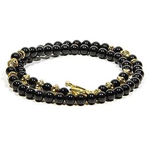 Handgemacht Schmuck Schwarz Achat Halskette für Männer Gold Elegant Geschenk für ihn Geschenk für sie Halskette für Frauen