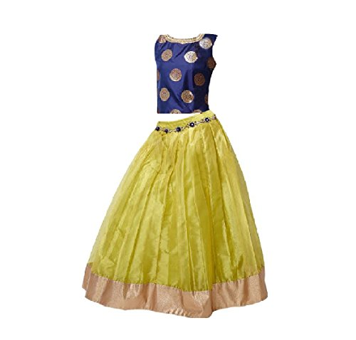 CartyShop Girl's Blue N Lime Green Jequard Silk Flared ReadyMade Wedding Wear Lehenga Choli Dress