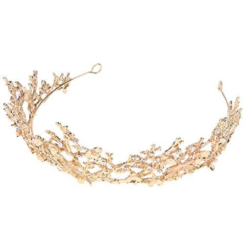 P Prettyia Frauen, Die Festzug Brautkrone Klassisches Tiara Kostüm Partei Stirnband Gold Wedding Sind