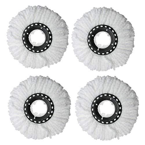 Eizur Mop Ersatzköpfe 360 Rotating Spin Magic Mop, Einfache Befestigung und Reinigung, Mikrofaser (4 Stück)