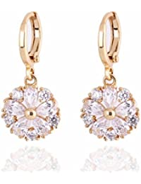 Yazilind Charming Flower Design 18K Gold Plated Inlay Clear Cubic Zirconia Dangle Drop Earrings for Women