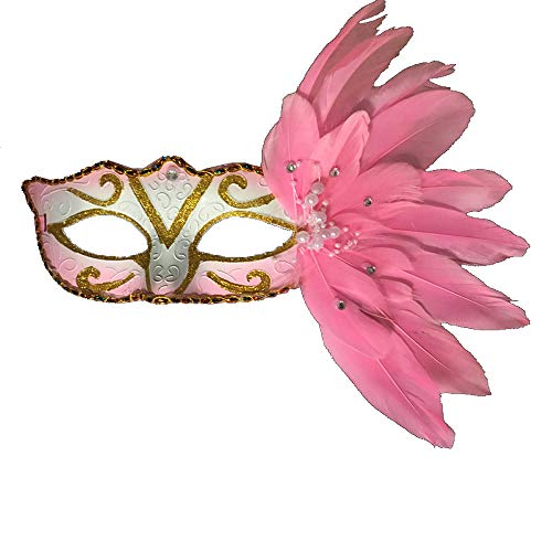 Comfot Lady Sexy Half Face Vanetian Stil Feder Maske Für Masquerade Ball Halloween Maske Party Fancy Kleid,Pink -
