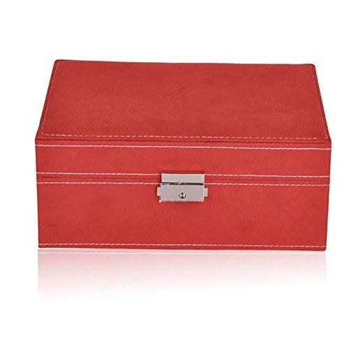 AMYMGLL MINI zwei Schicht Schmuck Schmuck Box / Aufbewahrungsbox / Cubby Box Fall Veranstalter mit Spiegel, perfekte Lagerung für Halskette / Armband / Ohrringe / Anhänger , red -