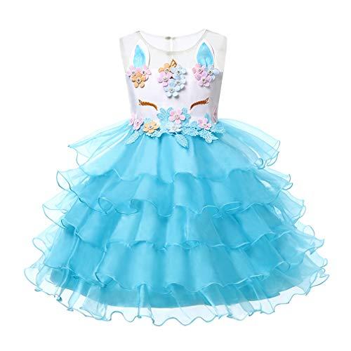 Mxssi Einhorn Party Kleider Kinder Halloween Weihnachten Cosplay Kostüm Für Kinder Blumenmädchen Hochzeitskleid Für Mädchen Prinzessin Kleid (Prinzessin Einhorn Kostüm Hund)