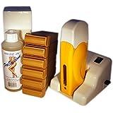 EPILWAX S.A.S - Kit D'Épilation Modulaire Complet À La Cire Jetable Au Miel, avec Roulette Grand Modèle pour les jambes, aisselles, et le corps.