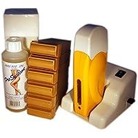 EPILWAX S.A.S - Kit D'Epilazione Modulare Completo A La Cera Usa e getta Al Miele, con Rotella Grande Modello per i gambe, ascelle, e il corpo