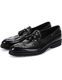 MMM Chaussures en Cuir pour Hommes, Hommes Robe Noire Chaussures Marron  Ombre Cuir Verni Luxe Mode marié Chaussures de Mariage… 3b5309a0de4