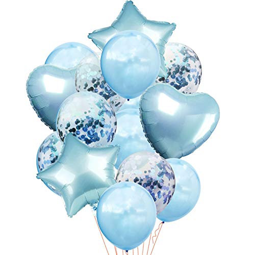 Oblique Unique® 14 Deko Ballons Konfetti Folien Luftballon Set mit Herzen Sternen für Geburtstag Feier Jubiläum Hochzeit JGA Baby Shower Party Blau
