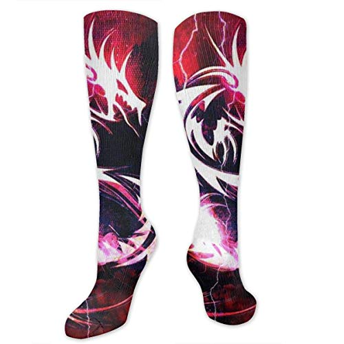 Gped Kniestrümpfe,Socken Bloody Red Dragon Compression Socks,Knee High Socks,Funny Socks for Women Men - Best Medical,Sports,Running, Nurses,Maternity,Pregnancy,Travel & Flight Socks (Dragon Lady Red Kostüm)