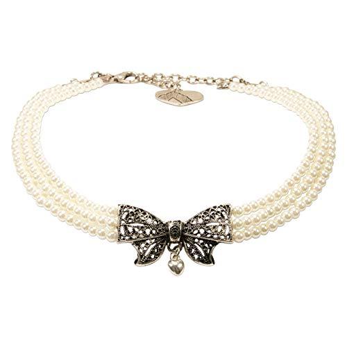 Alpenflüstern Trachten-Perlen-Kropfkette Schleife - verspielte Trachtenkette, eleganter Damen-Trachtenschmuck, Dirndlkette Creme-weiß DHK223