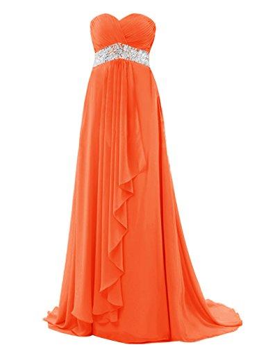 Dresstells Damen Abendkleider Maxikleider Trägerlos Bodenlang mit Schleppe Chiffon Ballkleid Orange