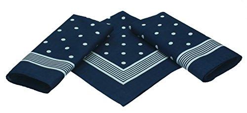 Betz 3er Pack Nickituch Bandana Richtfesttuch Halstuch Klassisches Punktemuster Größe 55 x 55cm 100% Baumwolle Farben: Rot, Marine und Schwarzblau Farbe Marine