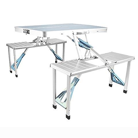 MIAO Outdoor einfache Box Typ Aluminium-Legierung 86 cm * 67 cm Conjoined Falten Tische und Stühle , Silver